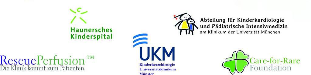 Zu sehen sind die Logos der universitären Kooperationspartner von Pediatric Air Ambulance.